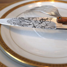 Deejo 2AB010 6 steak knives Blossom , mirror finish, olive wood handle 3