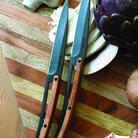 Deejo 2FB001 6 steak knives , titanium finish, olive wood handle 2