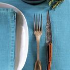 Deejo 2FB010 6 steak knives set Blossom , titan finish, olive wood handle 2