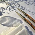 Deejo 2FB012 6 steak knives Art Déco , titan finish, olive wood handle 2