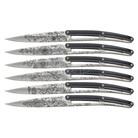 Deejo set of 6 steak knives , mirror finish, paperstone, Blossom