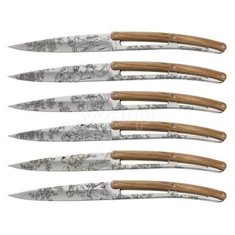 Deejo 2AB011 6 steak knives Toile de Jouy , mirror finish, olive wood handle