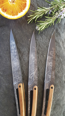 Deejo 2FB010 6 steak knives set Blossom , titan finish, olive wood handle 4