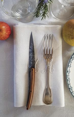 Deejo 2FB010 6 steak knives set Blossom , titan finish, olive wood handle 5