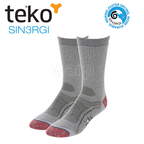 Teko 6604 S3 Midweight hiking unisex gray heather-red