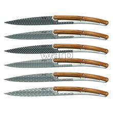 Deejo 2AB013 sada 6 steak nožů, lesklý povrch, olivové dřevo, design Geometry 1