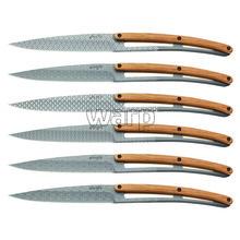 Deejo 2FB013 sada 6 steak nožů, matný povrch, olivové dřevo, design Geometry 1